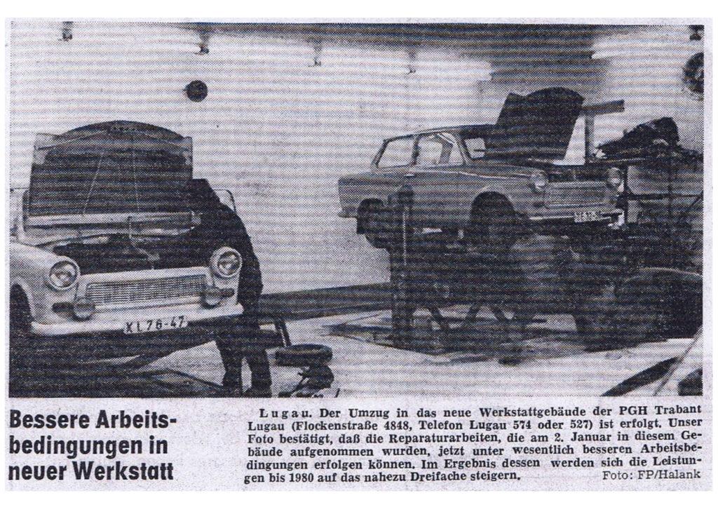 Januar 1978 - die neue Werkstatt an der Flockenstraße in Lugau